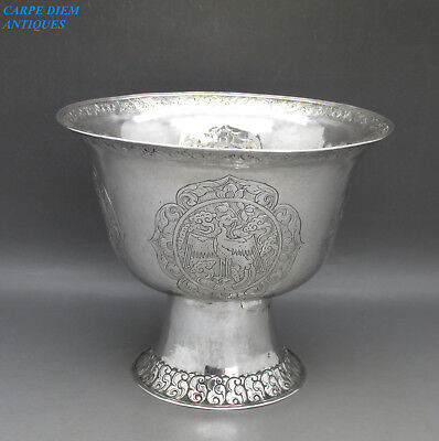 ANTIQUE CHINESE / TIBETAN LARGE IMPRESSIVE SOLID SILVER LIBATION CUP, 247g c1860