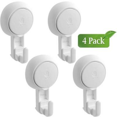 4 Pack White Suction Cup Hooks, Heavy Duty Vacuum Hook Holder Wall Hooks Hangers