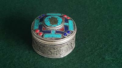 Vint Mid-C20th Mexican Sterling Silver Enamelled Mayan Trinket Box w Turquoise