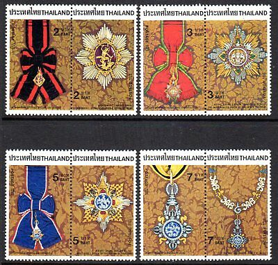 1988 THAILAND INSIGNIA OF ORDERS pairs SG1387-1394 mint unhinged