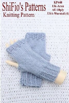 KNITTING PATTERN for Ladies Fingerless mitts, Gloves , #KP448 NOT CLOTHES