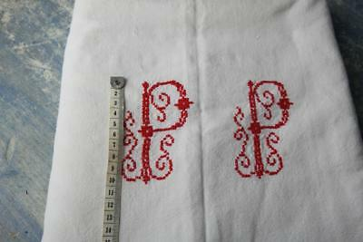 "Superb French Antique Linen Sheet. Red Monogram Trousseau Dowry'p.p' 120X80""#b12"
