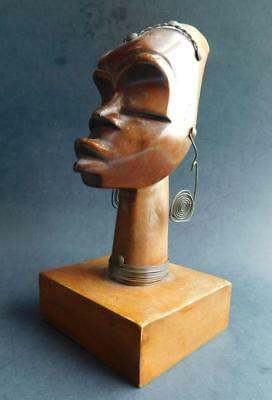 1950s Mid Century Modern Nubian African Head Sculpture on Plinth Wood Carving