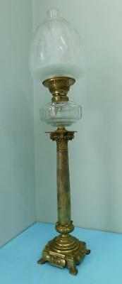 Antique 1900s Centre Draught Table Banquet Oil Lamp Onyx and Brass pedestal