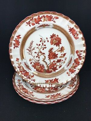 Four Vintage Spode England Indian India Tree 10 3/8 Dinner Plate 2/959 Scalloped