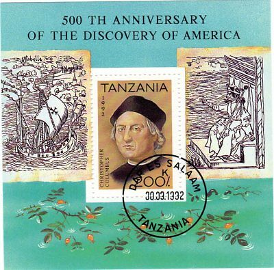 1Mini Sheet ~ Tanzania ~ 500 th Anniversary of The Discovery of America