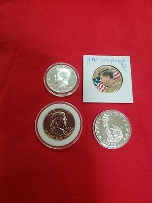 Us Mint Silver Coin Lot 1963 Franklin,1968 Kennedy Proof,2004 24Kt. Half,liberty