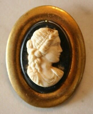 Vintage Cameo Facing Right Profile Lady Brooch / Pin white to black background