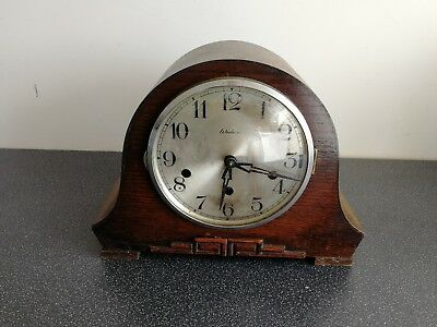 Old Wooden Cased Widex Mantel Clock For Spares And Repairs