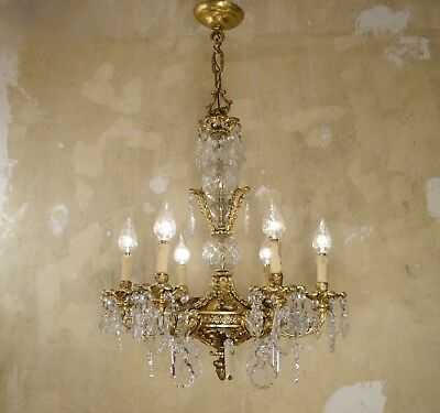 Wow Rare Ornaments 6 Light Gold Bronze Crystal Antique Spanish Chandelier Old