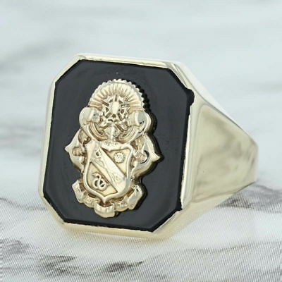 Vintage Sigma Nu Ring - 10k Yellow Gold Size 6.5 Onyx Fraternity