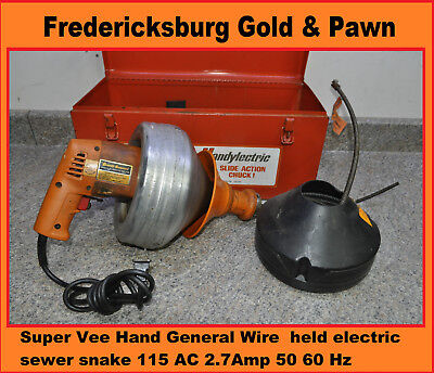 General Wire Super Vee Hand held electric sewer snake 115 AC 2.7Amp 50 60 Hz