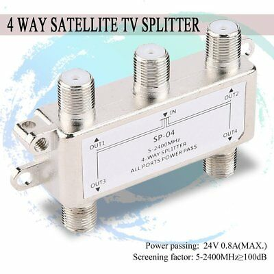 4 Way Satellite/Antenna/Cable TV Splitter Distributor 5-2400MHz F Type RY