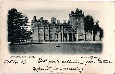 Abercairney House, Crieff, old b+w postcard, posted 1903