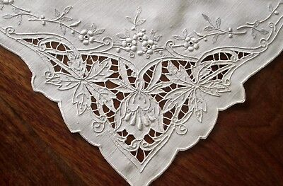 fine quality antique tray cloth or runner, wh linen, lovely embr/cutwork flowers