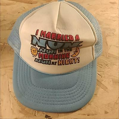 3781ecf5a2e84 Blue Funny Front Panel Vintage I Married A Nun In Morning At Night Trucker  Hat