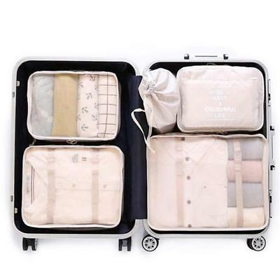 OEE 7 pcs Luggage Packing Organizers Cubes Set Travel Clothes Laundry Bag Beige