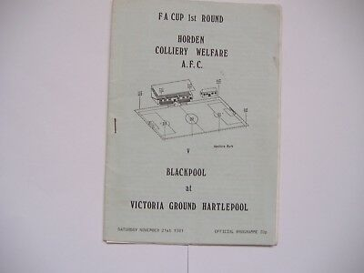Horden Colliery Welfare v Blackpool, 21/11/1981, F.A Cup Round 1 @Hartlepool,