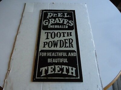Antique advertising reverse paint tooth powder sign dentist drug retail store