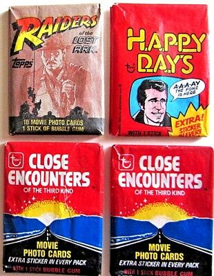 Vintage Sealed Trading Card Wax Pack Lot Raiders Of The Lost Ark Close Encounter