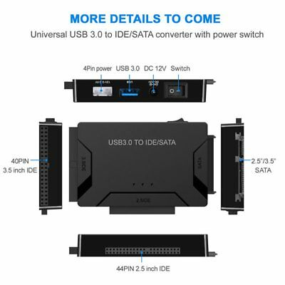 """USB 3.0 to IDE & SATA Converter External Hard Drive Adapter Kit for 2.5""""/3.5"""" RY"""