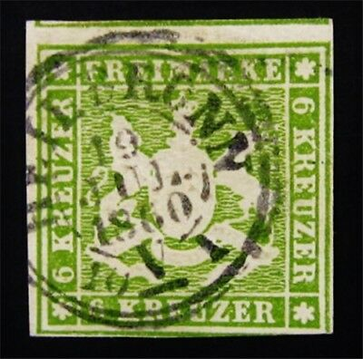 nystamps German States Wurttemberg Stamp # 16 Used $125