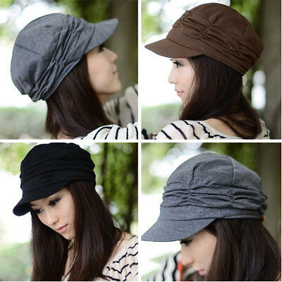 086da89a475 Women Fashion Pleated Layers Beret Beanie Hat Peaked Brim Casual Summer Sun  Cap