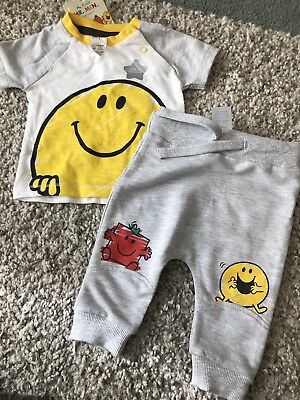 Bnwt Baby Boys Mr Men Happy Outfit Set Top And Trousers 0-3 Months
