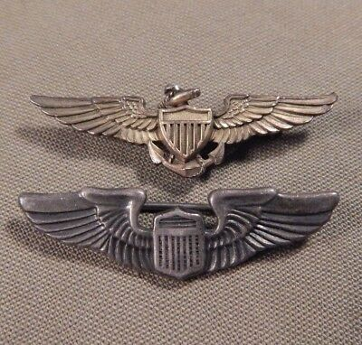 WWII / WW2 U.S. Army Air Force, U.S. Navy Pilot Wings, Miniature Size, Sterling