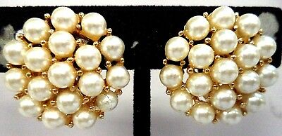 "Stunning Vintage Estate Signed Napier Faux Pearls 7/8"" Screw Earrings!!! 5042Z"