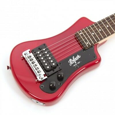 New Hofner Shorty  Electric Guitar In Red With Gigbag Case Hct-Sh-R