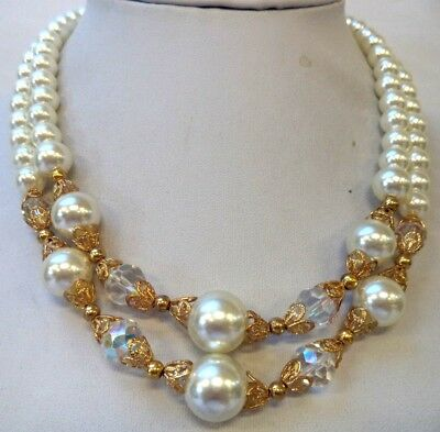 """Stunning Vintage Estate Crystal Bead Gold Tone Faux Pearl 16 3/4"""" Necklace 1552P"""