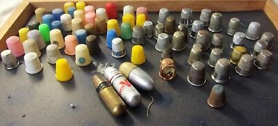 Vintage huge Sewing Thimble Lot Needle Cases Advertising Colorful 50+ Items Huge