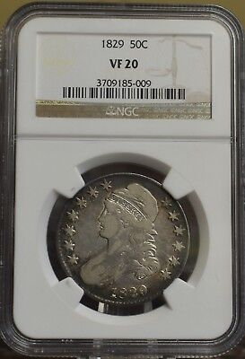 1829 Capped Bust Half Dollar NGC VF-20 1829 50C Silver Coin Early US Type Coins