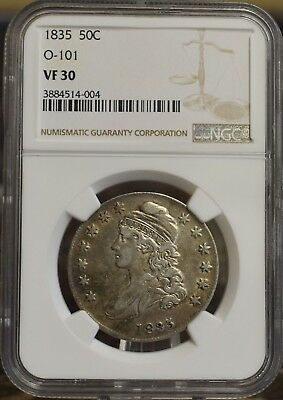 1835 Capped Bust Half Dollar O-101 NGC VF-30 1835 50C Overton Variety 101 Coin