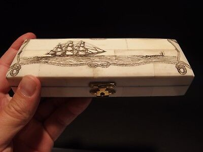 Antique Style Whale Chase Scrimshaw Etched Bone & Wood Trinket Stamp Jewelry Box