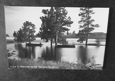 RP Northern New Mexico El Vado Lake & Dam 1940s Postcard