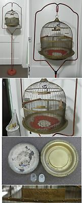 Antique Hendryx Canary Parakeet Bird Cage with Glass Feeders and Metal Stand