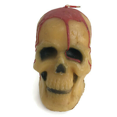 Vintage 1980s Halloween Spooky Skull Wax Candle Suni Candle W&F Mfg Co USA 5""