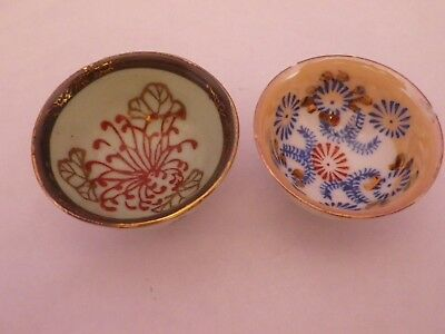 Two Vintage Small Japanese Unusual Patterns Design Bowls 5.5 & 5 Cms Diameter