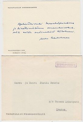 FINLAND 1956 president's office DIPLOMATIC cover to LONDON via DIPLOMATIC BAY