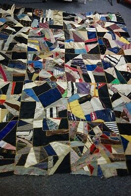 "Victorian Crazy Quilt Top- 65""x82""- Silk Top Pieces, Calico Backing- GORGEOUS"