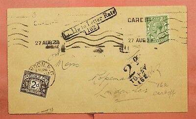 1923 Gb Cardiff To London Postage Due Liable To Letter Rate Auxiliary