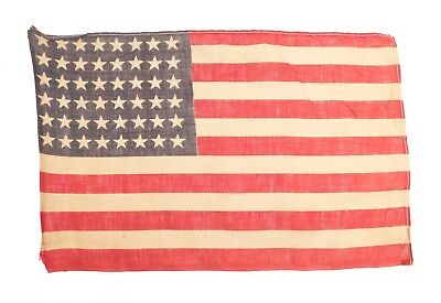 """Antique 48 STAR US FLAG WWII Era Correct Small 9"""" x13.5"""" (Stains, Holes) 1224-21"""