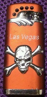 SKULL & CROSSBONES BUTANE LIGHTER STAMPED LAS VEGAS (3M105) Great Collectible