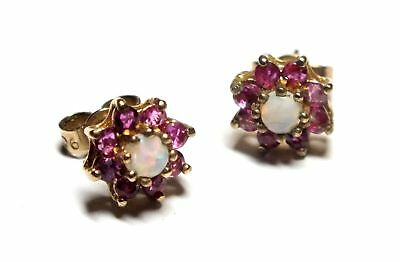 .375 9ct YELLOW GOLD Red RUBY & Round OPAL Stud Earrings, 1.55g - B87