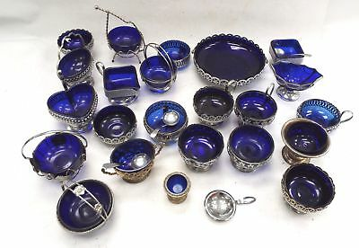 Vintage Collection of Approx 27 Pieces of Blue GLASS & SIlver PLated Bowls - H24