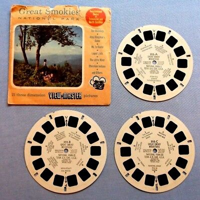 Viewmaster Reels- Great Smokies National Park - Set Of 3 With Cover In Good Cond