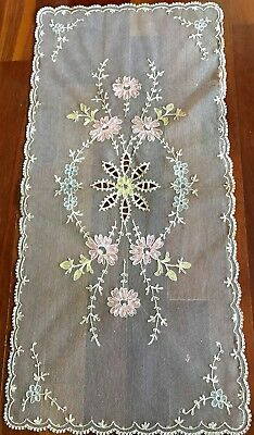 ANTIQUE TAMBOUR NET LACE TABLE RUNNER OR DRESSER SCARF w COLORS UNIQUE 17 X 36