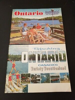 Lot of 2 Large ONTARIO Canada Promo Travel Booklets Books 1960s Color